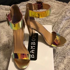 Holographic gold block heels women's size 7